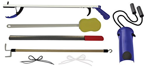 Blue Jay Stop Your Bending 7 Piece Hip Kit - 26'' Reacher, Sock Aid, 27'' Dressing Stick, 24'' Metal Shoehorn, Elastic Shoelaces, Long Handle Sponge, Mobility Aid. Hip Replacement Recovery Kit by Blue Jay An Elite Healthcare Brand