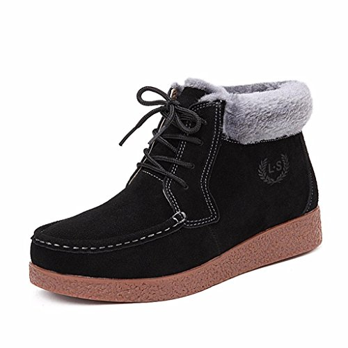Moonwalker Women's Suede Leather Lace Up Winter Ankle Bootie Fur Lining Black 0w32Z0YrOe