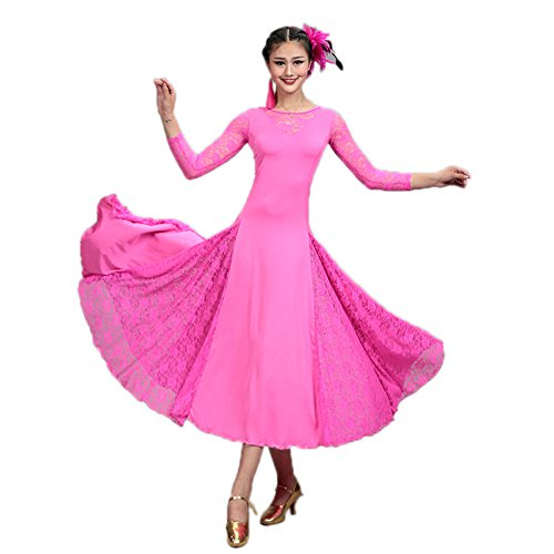 NAKOKOU Modern Dance Costumes Practice Dress Adult Long Sleeve(Rose red,S)]()
