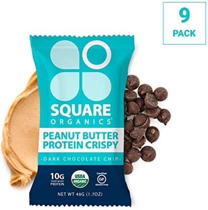 Square Organics Vegan Protein Bars - Dark Chocolate Chip Crispy - 10g Protein - Organic Protein Bars are Gluten Free, Dairy Free, Soy Free, Non-GMO - Perfect Protein Bar for Plant Based Diet - 9 Pack