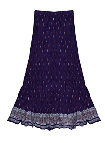 Ayurvastram Pure Cotton Hand Block Printed Long Skirt: Purple: L - Hand Block Printed Cotton Skirt