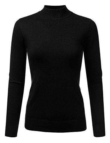 Black Sweater Top (JJ Perfection Women's Soft Long Sleeve Mock Neck Knit Sweater Top Black XL)