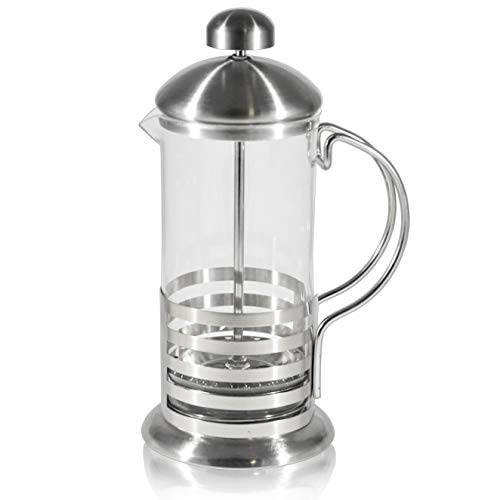 French Press Single Serving Coffee Maker, Small Affordable Coffee Brewer with Highest Filtration, 1 Cup Capacity (12 fl oz) (Silver)