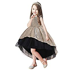 Girls Back Bow Lace Short Sleeves Gown
