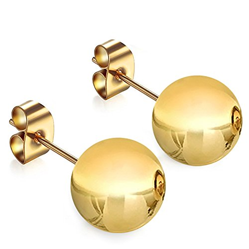 14K Yellow Gold 12MM Ball Stud Pushback Earrings by GotJewelry