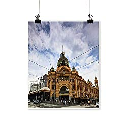 Art Picture Colorful Canvas Print Melbourne City Tori buil Flinders Station Railway Victoria Colonial Style Yellow Bricks Paintings for Living Room,32 W x 56 L/1pc(Frameless)