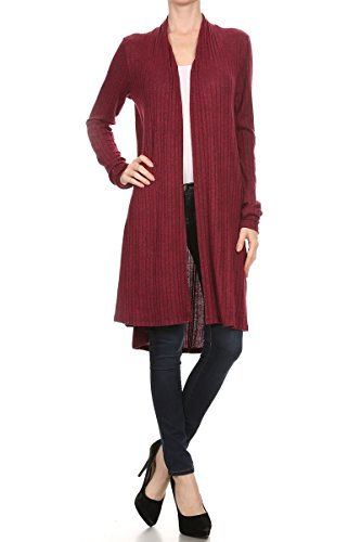 ReneeC. Women's Open Front Rib Knit Soft Classic Long Cardigan Made in USA (2X-Large, Burgundy)