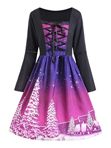 Price comparison product image iLXHD Women Classic Xmas Tree Flare Long Sleeve Cross Bandage Swing Dress Queen Series
