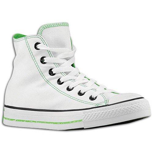 Converse Unisex Chuck Taylor All Star Impreso Logos Hola zapato White, Lime