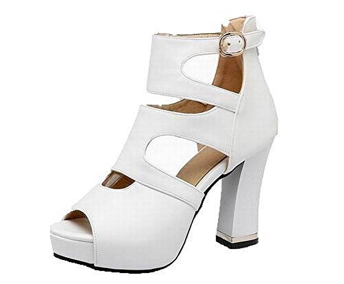 AalarDom Sandales d'orteil à Ouverture Femme Unie Talon TSFLH006936 Couleur Zip Haut Blanc HwqHOr
