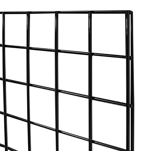3-Pack Wire Grid Panel Display, 2 x 6 ft - 3'' On Center. Black.