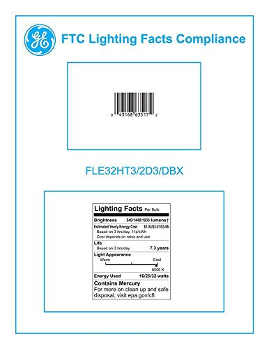 GE Lighting 63517 Energy Smart CFL 3-way 16/25/32-Watt (150-watt replacement) 540/1440/1935-Lumen T3 Spiral Light Bulb with Medium Base, 6-Pack by GE Lighting (Image #1)