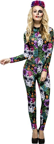 Fever Women's Day Of The Dead Costume, Catsuit & Rose Headband, Size: - Mad Cats Band