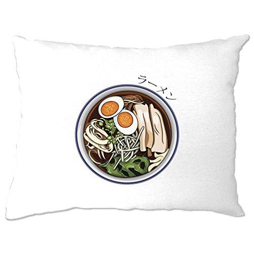Tim And Ted Ramen Fideos Alimentos Asia Tasty Kawaii Huevos Verduras saludables Funda de Almohada, Blanco, 1