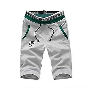 Feidaeu Pantalones Cortos para Hombres Cordón Cintura elástica ...