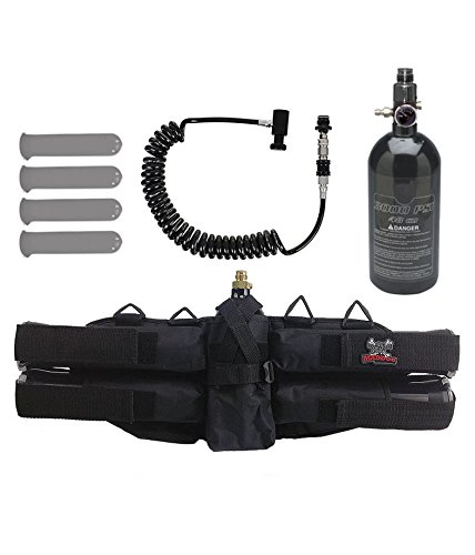 MAddog Sports 4+1 Paintball Harness w/Pods, 48/3000 HPA Tank & Remote Coil w/Slidecheck by MAddog