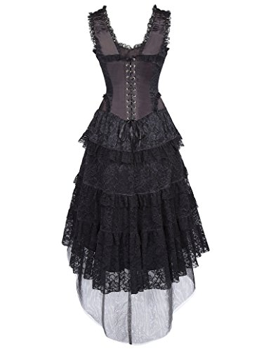 Gothic Kleid Schwarz Poque Steampunk Bp353 Kleid Corsagenkleid Lang schwarz Belle Damen 1 xCq6R7Xwxn