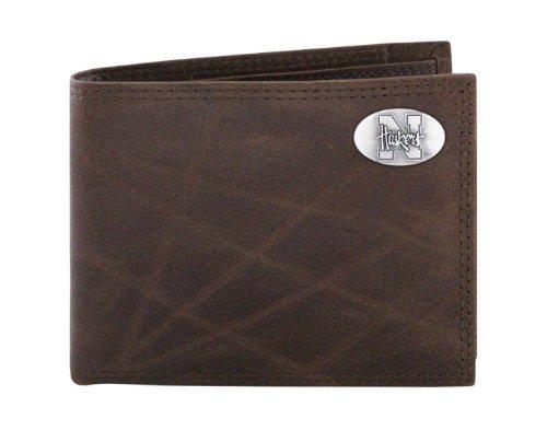 NCAA Nebraska Cornhuskers Brown Wrinkle Leather Bifold Concho Wallet, One Size