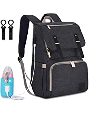 Multi-Function Durable Large Capacity Baby Diaper Bag Waterproof Travel Backpack with Heating Bottle Case and USB Port Nappy Bags for Baby Care (Dark Grey)