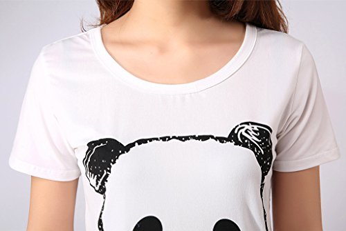 Ventelan Women s Cute Panda Striped Short Sleeve Sleepwear Pjs Pyjama Set  Nighty  Amazon.co.uk  Clothing c0e23eb95