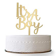 Firefairy It's A Boy Acrylic Cake Topper for Boy Baby Shower, Birthday Party Decorations( Gold)