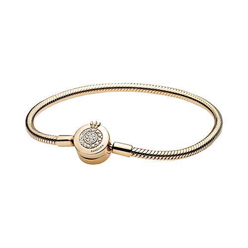 PANDORA-Pandora-Moments-Sparkling-Crown-O-Snake-Chain-Bracelet-Clear-CZ-18k-Gold-Plated-PANDORA-Shine-Collection-Charm-Bracelet