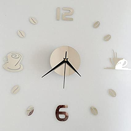 Shuangklei New Removable Diy Acrylic 3D Mirror Wall Sticker Decorative Clock,Ren