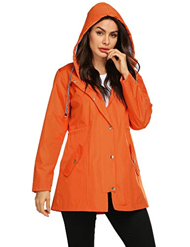Windproof Hoodies Outdoor Hiking Rain Jacket Cycling Waterproof Jacket with Hood Double Layer Jacket Orange XL