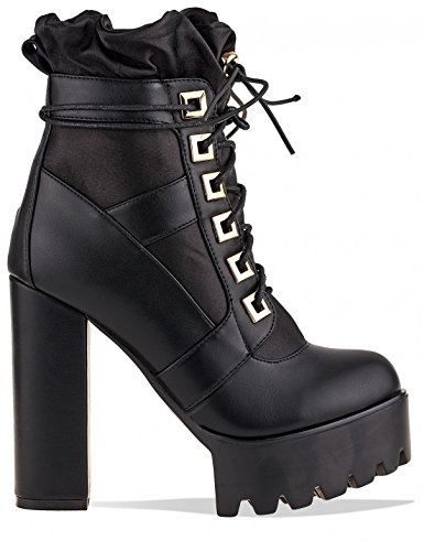 Black Lamoda Lace in Platform up Extreme Ankle PU Boots Womens WB4FqR