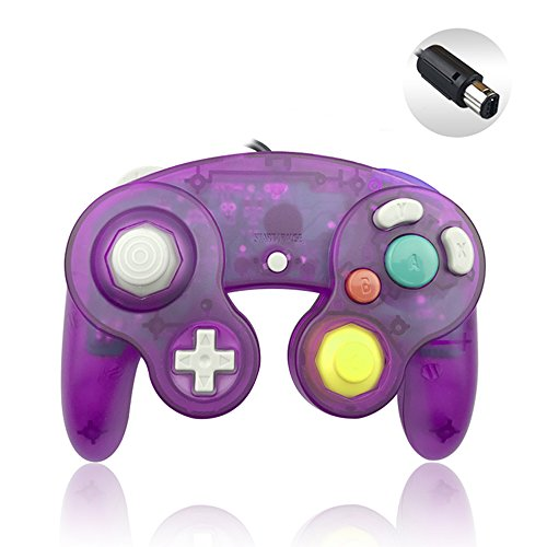 (Reiso 1 Pack NGC Controller Classic Wired Controller for Wii Gamecube(Clear Purple))