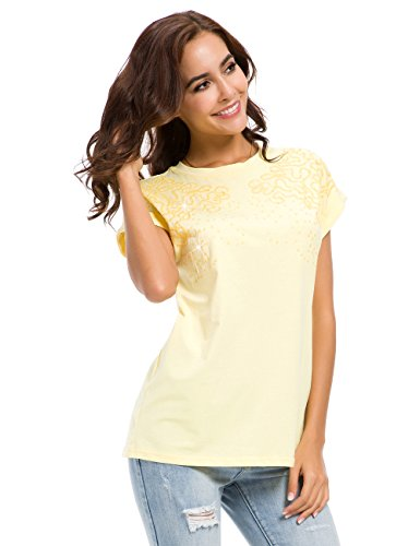 MOQUEEN Womens Short Sleeve Loose Fitting Sparkle Sequins Tops Cotton T Shirts, Yellow, US 10 -