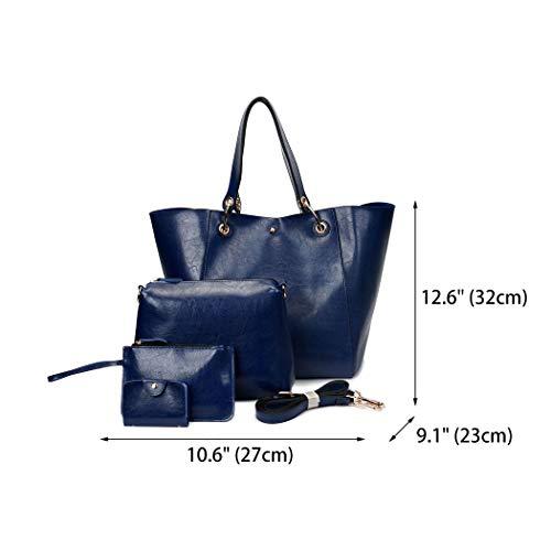 piezas mano Carteras hombro bolsos y Shoppers DEERWORD Azul Bolsos clutches de bandolera Mujer de 3 y qfU8w6