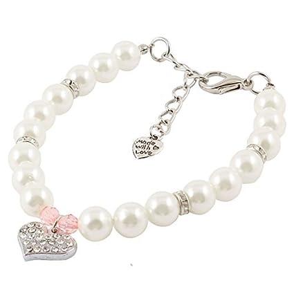 eDealMax de imitación de perlas de imitación Collar Vinculado Collar de perro del Animal doméstico pendiente
