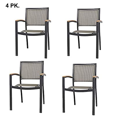 LuckyerMore Metal Patio Dining Chairs Heavy Duty Indoor Outdoor Restaurant Stackable Chair