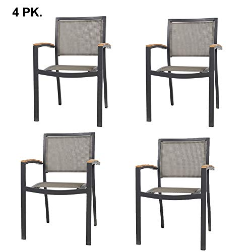 LUCKYERMORE Set of 4 Stacking Metal Patio Dining Kitchen Chair – Heavy Duty Frame and Comfortable Mesh Seat Metal Armchair for Commercial Restaurant Use