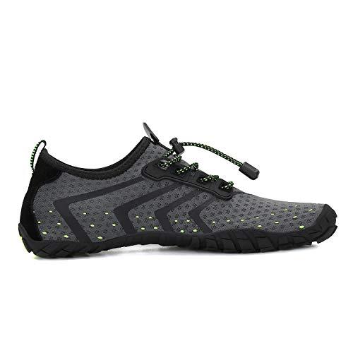 MOERDENG Men Women Water Shoes Quick Dry Barefoot Aqua Socks Swim Shoes for Pool Beach Walking Running (Dark grey) 12 M US Women / 10 M US Men by MOERDENG (Image #4)