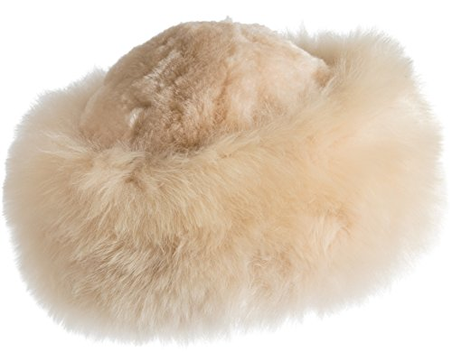 Premium Peruvian Baby Alpaca Fur Cossack Hat, Beige, Size 1 Size by Overland Sheepskin Co