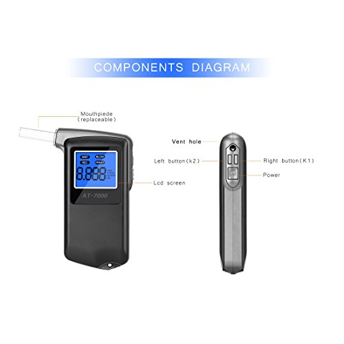 EEK-Brand Breathalyzer Professional Portable Breath Digital Display Alcohol Tester with 6 Units Modes and Extra 10 Mouthpieces by EEK-Brand (Image #2)