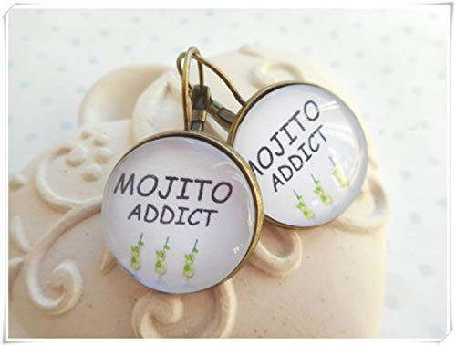 Addict Ornament - Mojito Addict Green Earrings, cabochon Earrings,Dome Glass Ornaments, Hand-Made