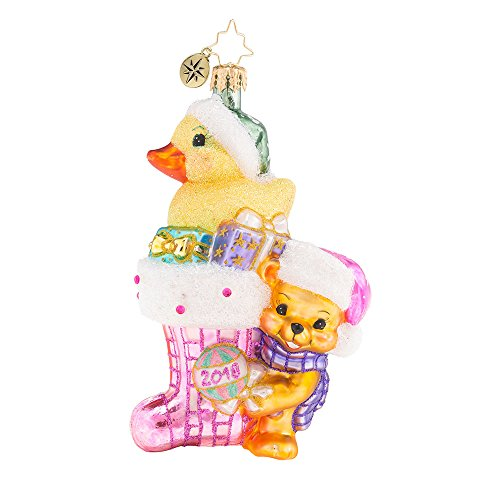 Christopher Radko 2018 Down with Fur in Pink Baby Girl Themed Glass Ornament by Christopher Radko
