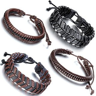 Aroncent 4PCS Handmade Vintage Wristband, Leather Rope Bracelet, Tribal Braided Cuff Bangle, Charms, Adjustable Size, Unisex