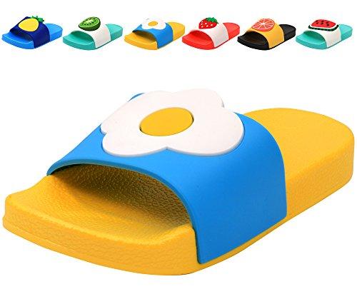 Femizee Colorful Fruit Boys Girls Slide Sandals Summer Beach Pool Bath Slippers (Toddler/Little Kid) Flower SHO1225 CN29