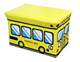 Home Basics Folding Storage Ottoman Bench Seat (Yellow School Bus, L Size 19.25 x 12.25 x 12.25'')