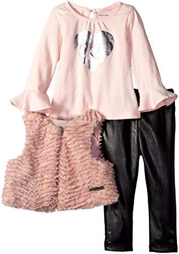Calvin Klein Baby Girls 3 Pieces Faux Fur Vest Set