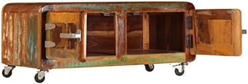 Hoge Kwaliteit Goedkoop Tidyard salontafel, woonkamertafel, 80 x 55 x 40 cm, bijzettafel, koffietafel, 2 kasten met deuren, 4 wielen, gerecycled massief hout  fV0kch2