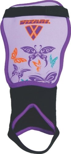 Vizari Butterfly Soccer Shin Guards (Purple/Orange, X (Pee Wee Soccer Shin Guards)