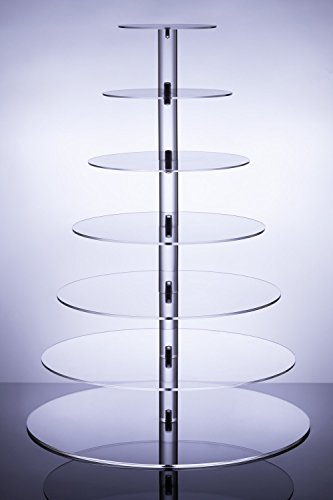 Cupcake Stand, Clear Acrylic Party Tree Tower Cake Dessert Round Display Use for Christmas Wedding Engagement Birthday Engagement Birthday (7 Tier Round)