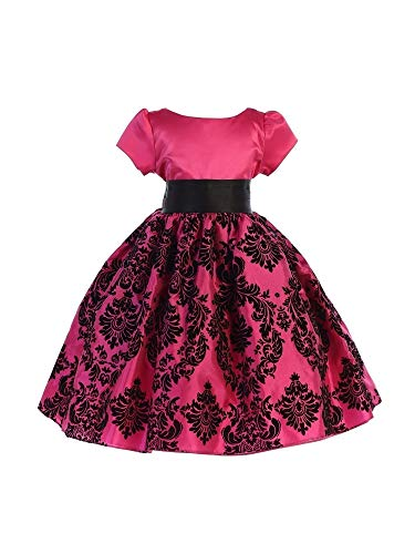 Ellie Kids Little Girls Fuchsia Satin Damask Taffeta Flower Girl Dress 6 -