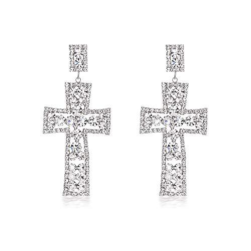 Yonhi Cubic Zirconia Wedding Earrings JewelrySilver Crystal Long Dangle Earring Cross Earrings For Women Dangle -