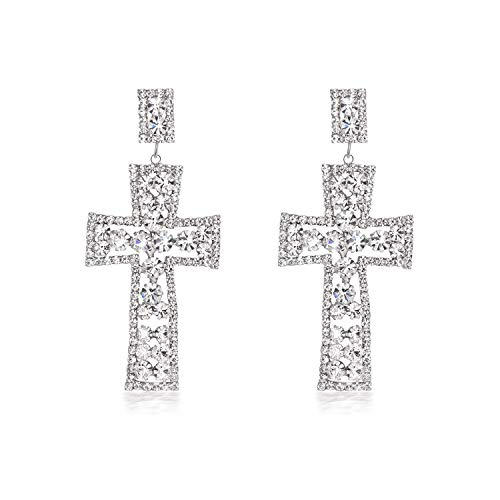 (Yonhi Cubic Zirconia Wedding Earrings JewelrySilver Crystal Long Dangle Earring Cross Earrings For Women Dangle Big)